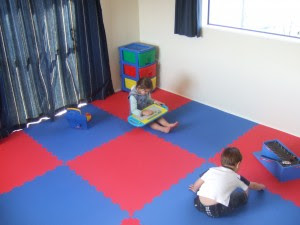 Classroom Design with 4 tiles Per Colour ...it is recommended to use 1 safety mat tile per colour for smaller rooms from an interior decorating perspective